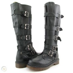 Rare Dr Martens Phina knee-high buckle boots!